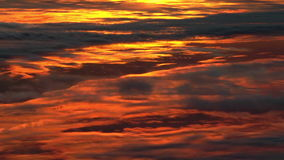 Sunset clouds, aerial footage. Royalty Free Stock Images