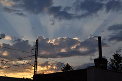 Sunset with clouds. As a backgroung for trolley wire Stock Images