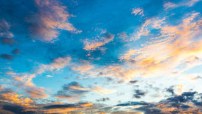 Sunset with clouds, background and wallpaper Royalty Free Stock Image