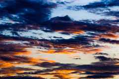 Sunset with clouds, background and wallpaper Stock Photo