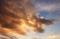 Sunset with clouds and beautiful blue sky Royalty Free Stock Image