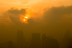 Sunset between the clouds and the City. Thailand Stock Images
