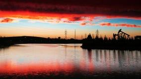 The oilfield sunset_landscape Stock Photography