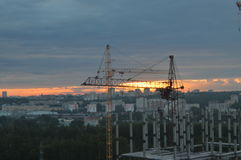 Sunset. And clouds in Kirov city royalty free stock image
