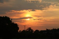 Sunset with clouds in thialand. Sunset with clouds at loacl in thialand Royalty Free Stock Photos