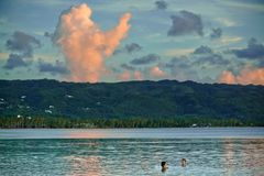 Sunset and clouds looks like Blessing of heaven. Colorfull sunset in cloudy day in las terrenas, dominican republic Stock Photography