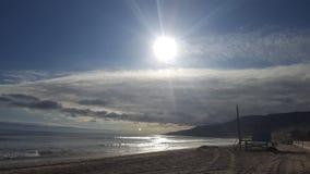 Sunset in clouds Malibu& x27;s Zuma Beach Stock Photos