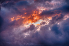 Sunset clouds over Cornwall, United Kingdom. Stormy sunset clouds in Cornwall, United Kingdom, July Stock Photos