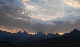 Sunset Through Clouds over Drakensberg. Mountains in South Africa Stock Images