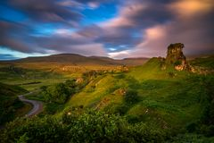 Fairy Glen sunset. Sunset clouds over Fairy Glen hills, Isle of Skye, Scotland Royalty Free Stock Photography