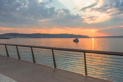Sunset  with clouds over Marmara Sea, Canakkale Stock Images