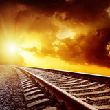 Sunset with clouds over railroad Stock Photography