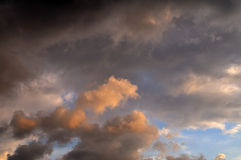 Sunset Clouds Pattern with Bir Royalty Free Stock Photo