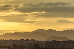 Sunset with clouds in Sagunto, Valencia, Spain Royalty Free Stock Images