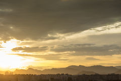 Sunset with clouds in Sagunto, Valencia, Spain Royalty Free Stock Image