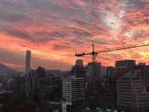 Sunset clouds in Santiago, Chile Stock Photography