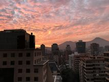 Sunset clouds in Santiago, Chile Royalty Free Stock Photo