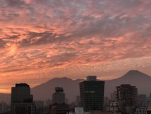 Sunset clouds in Santiago, Chile Royalty Free Stock Photos