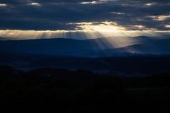 Sunset and clouds sky Stock Photos