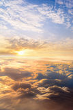 sunset clouds sky skyscape. view from the window of an airplane Royalty Free Stock Image
