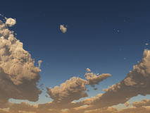 Sunset clouds with stars Royalty Free Stock Image