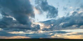 Sunset clouds. Summer, evening, Belarus Stock Photos