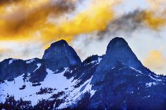 Sunset Clouds Two Lions Mountains Vancouver British Columbia Stock Photo