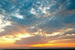 Sunset with clouds royalty free stock images