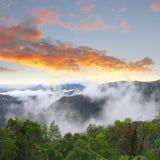 Sunset mystic clouds valley, Tamborine, Australia Royalty Free Stock Photography