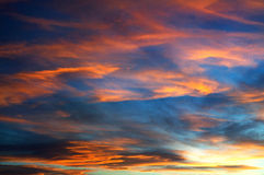 Sunset. With clouds on a very romantic sea Royalty Free Stock Photography