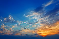 Sunset and cloudscape Royalty Free Stock Images