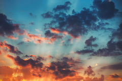 Sunset cloudscape. Beautiful sunrise with fluffy clouds. Stock Images