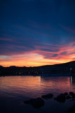 Sunset cloudscape over the coastline, Golfo Aranci, Sardinia, Italy, Royalty Free Stock Photos