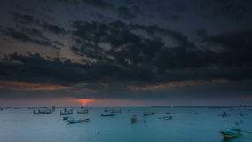 Sunset and Cloudscape time lapse at Jimbaran Bay, Bali stock video