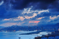 Sunset cloudy. A lot of cloud during sunset. This is Kowloon, Hong Kong stock photography