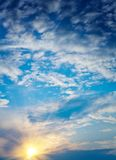 Sunset with cloudy sky Royalty Free Stock Photos
