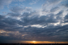 Sunset with cloudy sky above city in bangkok Stock Photo