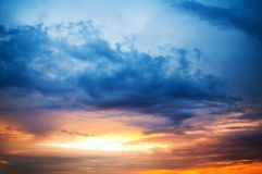 Sunset cloudy sky. Majestic sunset cloudy sky before the storm Stock Photography