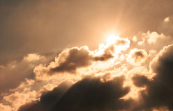 Sunset and cloudy sky Royalty Free Stock Image