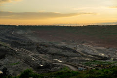 Sunset in Coal Mine. Environment Royalty Free Stock Images