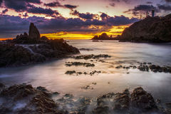 Sunset on the coast. Of the natural park of Cabo de Gata Royalty Free Stock Image