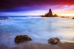 Sunset on the coast. Of the natural park of Cabo de Gata Stock Photo
