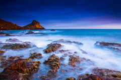 Sunset on the coast. Of the natural park of Cabo de Gata Stock Photos