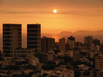 Sunset on the coast of Lima Peru. Beautiful sunset captured in summer from the roof of a 20-story building in the district of Miraflores lima peru Stock Photography