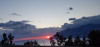 Sunset on coast of Amalfi royalty free stock photography