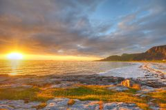 Sunset on the coast of Andoya in Norway Royalty Free Stock Photos