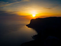 Sunset on the coast of Black Sea Stock Images