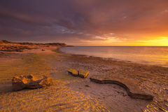 Sunset on the coast of Cape Range NP, Western Australia Royalty Free Stock Photos