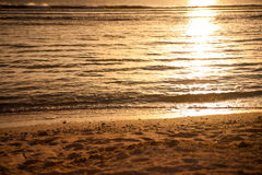 Sunset at coast of the Pacific sea. In Guam Royalty Free Stock Image