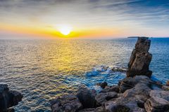 Sunset on the coast of Peniche, Portugal. Sunset on the coast of Peniche, Estremadura, Portugal sea landscape nature sky background beautiful beauty blue royalty free stock photo